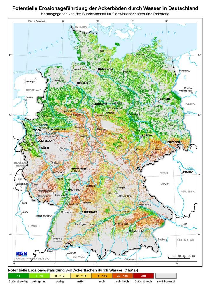 wasser karte deutschland BGR   Boden   Potentielle Erosionsgefährdung der Ackerböden durch