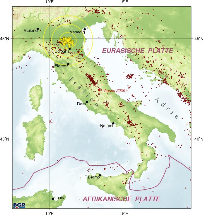 erdbeben italien 2012 karte BGR   Erdbebenauswertung   Erdbeben nahe der Stadt Finale Emilia